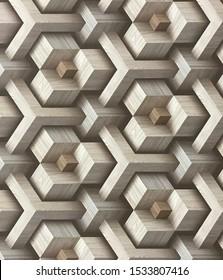 直列に積み上げられた木製の正方形の抽象的な錯覚。幻想を作成します。