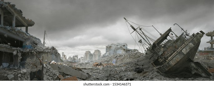 Post apocalyptic wasteland and city of ruins.