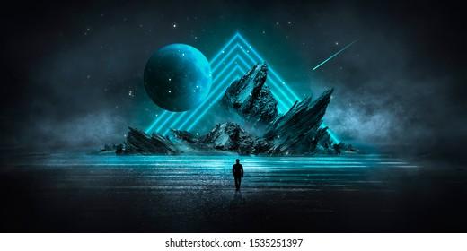 現代の未来的なネオンの抽象的な背景。中央の大きなオブジェクト、スペースの背景。ネオンライトのある暗いシーン。濡れた表面での光の反射。