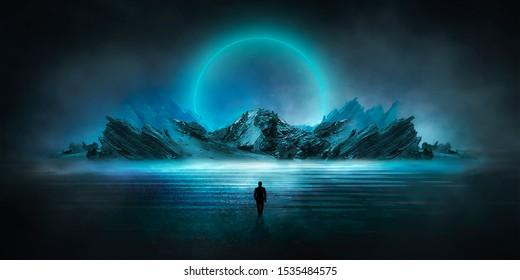 Paisaje nocturno futurista con paisaje abstracto e isla, luz de la luna, brillo. Escena natural oscura con reflejo de luz en el agua, luz azul neón. Fondo de círculo de neón oscuro