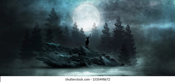 Futuristic night landscape with abstract forest landscape. Dark natural forest scene with reflection of moonlight in the water, neon blue light. Dark neon circle background, dark forest, deer.