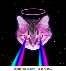 Head of pink monster cat flies in deep space and shoots lasers from eyes. Art collage concept of 90s or 80s