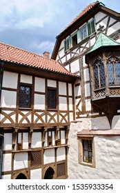 Wartburg Castle, Germany - 2014: Castle built in the Middle Ages on a mountain outside the town of Eisenach, in the state of Thuringia. Famous as the place where Martin Luther translated the Bible.