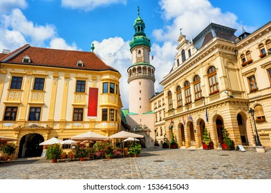 Sopron Old town, Hungary, the historical city center, view of the Firewatch tower and Town Hall