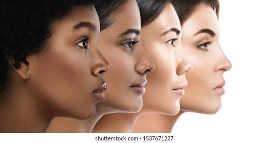 Multiethnische Schönheit. Frauen unterschiedlicher ethnischer Zugehörigkeit - Kaukasier, Afrikaner, Asiaten und Inder.