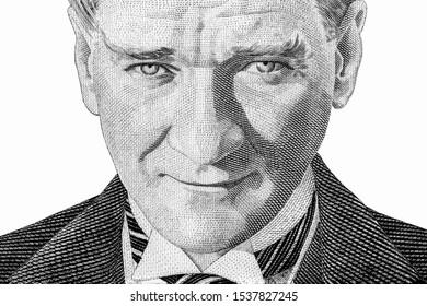 Präsident Mustafa Kemal Atatürk Porträt von türkischen Banknoten.