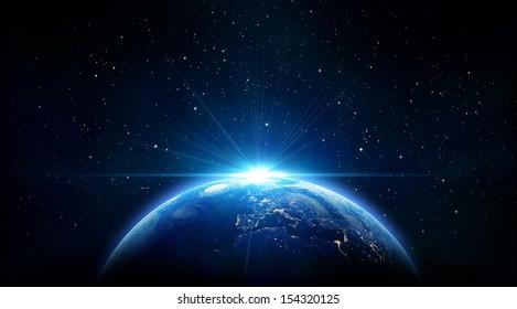 青い日の出、宇宙から地球の眺め