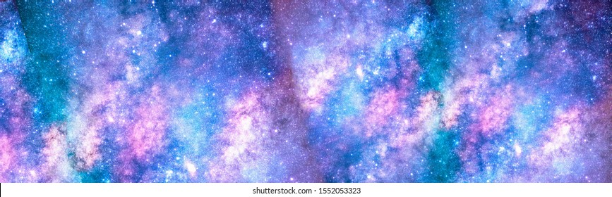 Beautiful purple-blue background of open space.Cover for a presentation or banner.Colorful Universe