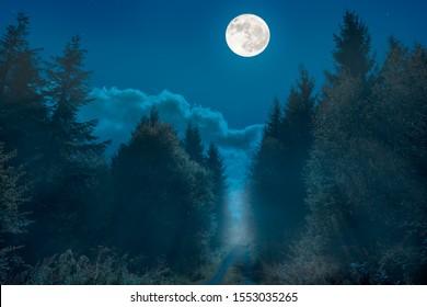 Una ruta de senderismo en una cresta en Alemania. Es de noche y la luna llena ha terminado. Hay niebla y el paisaje está bañado por la niebla.