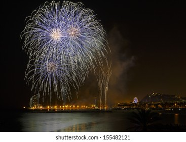 Fireworks to celebrate the Day of Mercy 2013 in Barcelona Spain