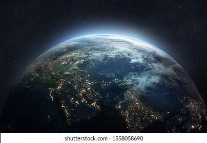 Erde in der Nacht. Abstrakte Tapete. Stadtlichter auf dem Planeten. Zivilisation. Elemente dieses Bildes von der NASA eingerichtet