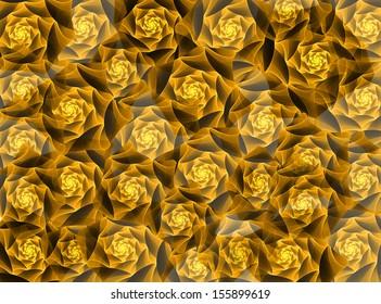 황금 프랙탈 꽃 배경