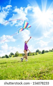 大きな色の凧でフィールドで遊んで幸せな8歳の素敵な男の子