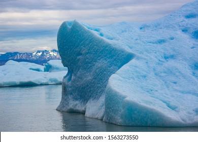 Hubbard Glacier in Alaska where it meets Disenchantment Bay. The Glacier is advancing each year.