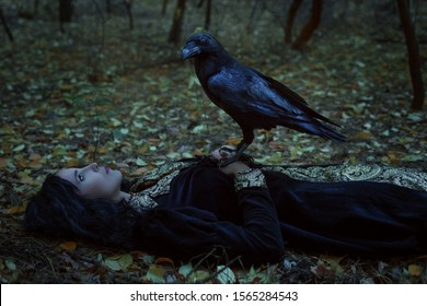 A mystical raven is sitting on a dead woman.