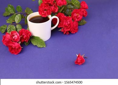 自然な赤いバラ紫b背景のコーヒーマグ