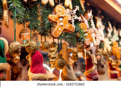 Traditional seasonal items gifts and Christmas decorations at Weihnachtsmarkt (Christmas market) stall in Central Berlin, Germany