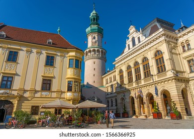 Old town of Sopron, Hungary, the historical city center, view of the Firewatch tower and Town Hall