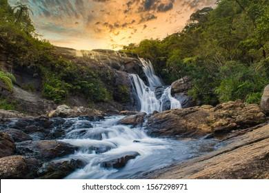 beautiful waterfall, bakers fall nuweraeliya srilanka