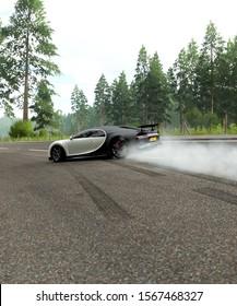 White and Black Bugatti Chiron