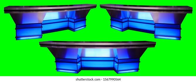 ブルースポーツニュースデスククロマキーグリーンスクリーンの背景に分離された3つの角度