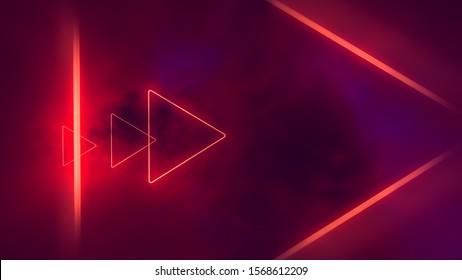 Triángulos de neón rojo en las nubes.
