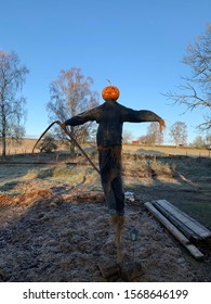 Scarecrow with scythe, halloween on a sunny day at the country side.