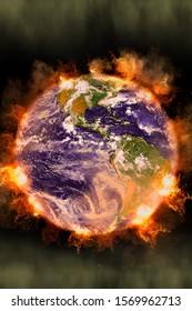 地球温暖化効果による火と炎のある宇宙からの地球の眺め。NASAから提供されたこのイメージの要素。