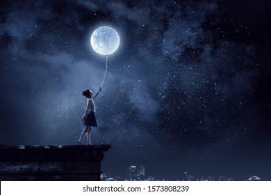 Kid girl catching moon. Mixed media