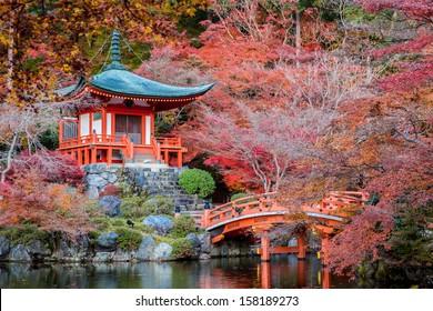Temporada de otoño, La licencia cambia de color rojo en el Templo de Japón.