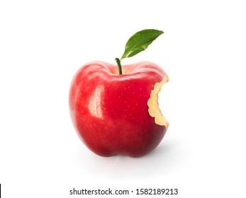 Roter Apfel mit fehlendem Biss lokalisiert auf weißem Hintergrund. Apfel-Logo.