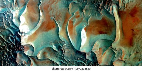 風の陶器、空中からアフリカの砂漠の抽象的な写真。砂漠の風景の空中写真、ジャンル:抽象自然主義、抽象から比喩的な現代フォトアートまで