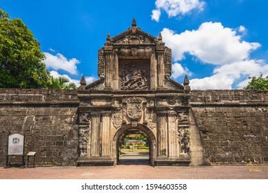 フィリピン、マニラのサンチャゴ要塞の正門