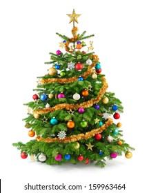 Freudige Studioaufnahme eines Weihnachtsbaumes mit bunten Verzierungen, lokalisiert auf Weiß