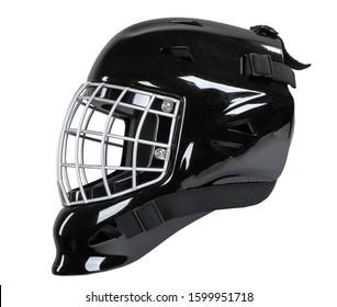Máscara de casco negro de portero de hockey aislado sobre fondo blanco.