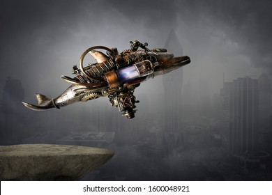 Steampunk robot flying machine of the future