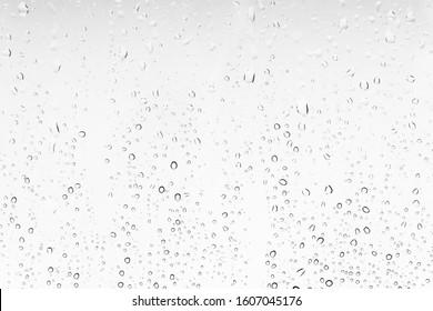 Wassertropfen Hintergrund auf einem Fenster. Weiße Textur des Regens