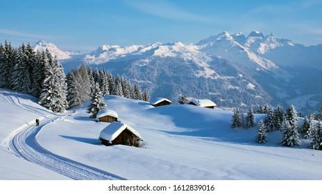 casa rural en invierno cubierta de nieve. paisaje con casa de pueblo cerca del bosque. construcción de una casa de madera. concepto de recreación campestre en la naturaleza