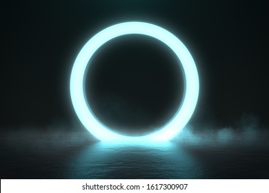 Circle neon light in black hall room, futuristic concept, Abstract geometric background, Product display, Scene, 3D Rendering.