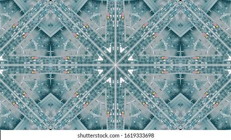 主要都市の道路交通渋滞、万華鏡のような効果の空中トップダウンショット