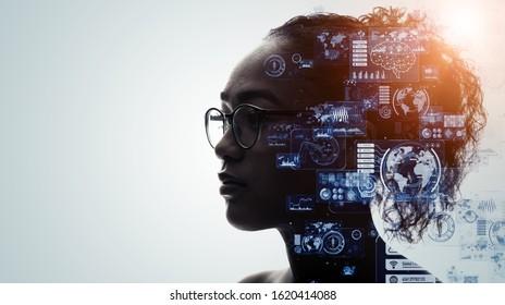 人間と技術の概念。AI(人工知能)。通信ネットワーク。