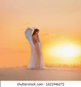 Silhouette young woman angel stands in desert praying. Creative glamour design costume clothes with bird wings feathers. Bright yellow color sunset dramatic heaven. Photo Shoot Divine Fairy Spirit