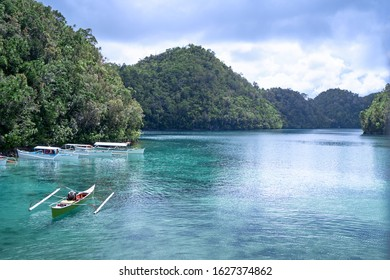 Sugba lagoon, tourists attraction. Beautiful landscape with blue sea lagoon, National Park, Siargao Island, Philippines.