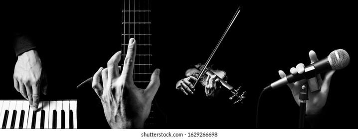 楽器を演奏するミュージシャンの手の4つの部分。音楽の背景