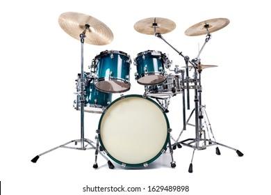 Satz Trommeln lokalisiert auf weißem Hintergrund
