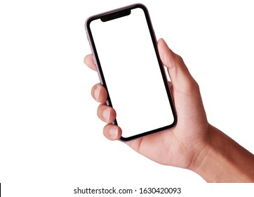 Bangkok, Thailand - JAN 20, 2019: Studio shot of Hand holding Smartphone iPhone 11 Pro Max and Show white screen for  your web site design, logo, app -include clipping path.