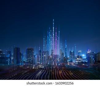 La ciudad inteligente y el punto abstracto se conectan con la línea de degradado y el diseño estético de la línea de onda intrincada, el concepto de tecnología de conexión de big data.