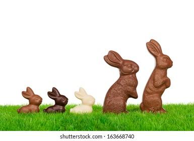 新鮮な牧草地でイースターのウサギ家族イースター。白で隔離されます。