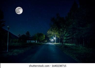 Bergstraße durch den Wald in einer Vollmondnacht. Szenische Nachtlandschaft des dunkelblauen Himmels mit Mond. Aserbaidschan. Langzeitbelichtung.