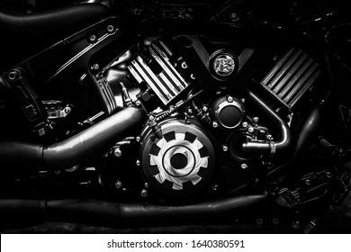 Bloque de motor de motocicleta closeup chopper bike vintage tono artes industriales y diseño.